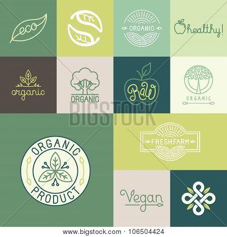 Vector Set Of Natural, Organic, Vegan Badges