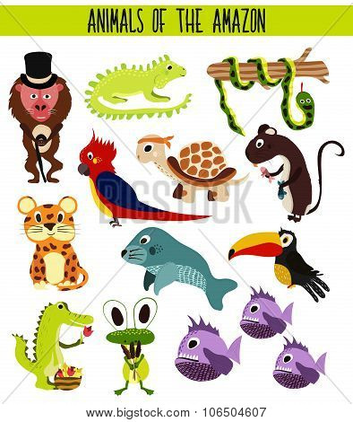 Set of Cute cartoon Animals and birds of the Amazon areas of South America isolated on white backgro