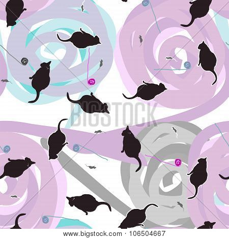 Seamless pattern of cats, mice and balls
