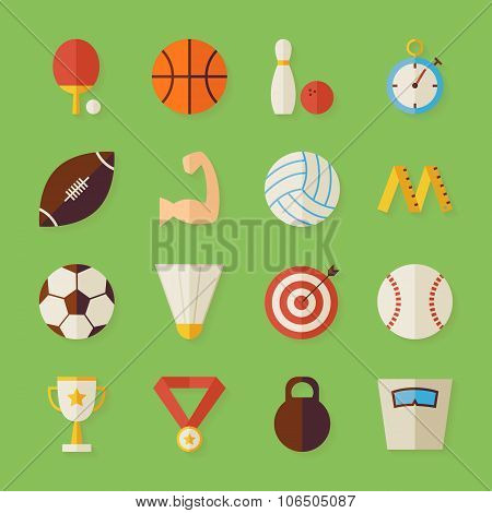 Flat Sport Recreation And Competition Objects Set With Shadow