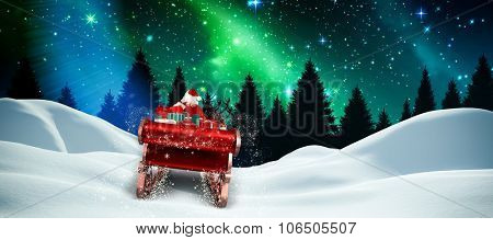 Santa flying his sleigh against aurora shimmering over forest at night