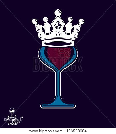Sophisticated Luxury Wineglass With King Crown, Graphic Artistic Vector Goblet. Full Glass Of Wine V