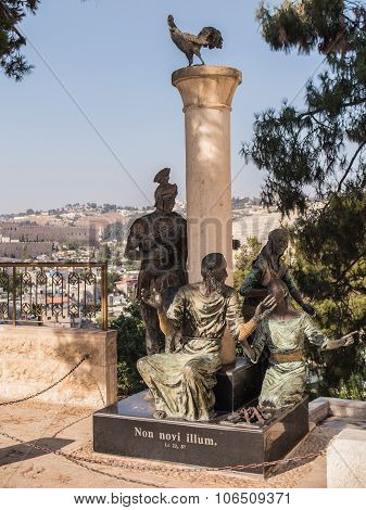 .jerusalem, Israel 13 July 2015. Monument St. Peter Who Denied Jesus Three Times Against The Mount O