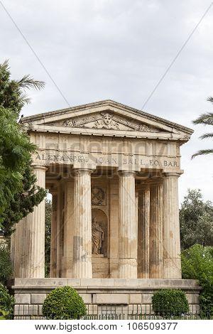 Temple In Barrakka Gardens In Capital Of Malta - Valletta