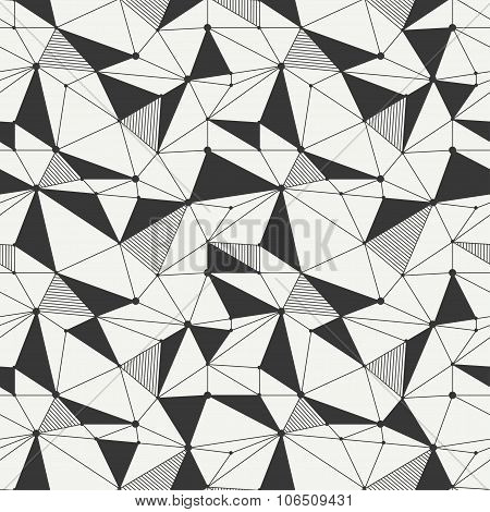 Geometric line hipster seamless pattern with triangle, circles. Reticulated abstract linear grid. Wr