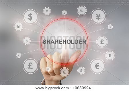 Business Hand Pushing Shareholder Button