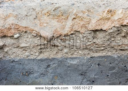 Soil Layers In Underground Earth Of Science Environment