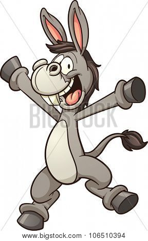 Happy cartoon donkey. Vector clip art illustration with simple gradients. All in single layer.