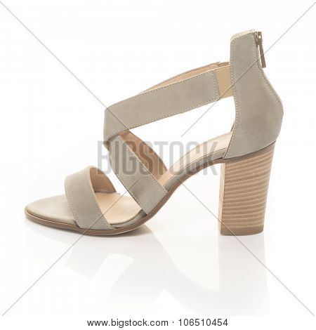 woman shoe, leather sandal isolated on white