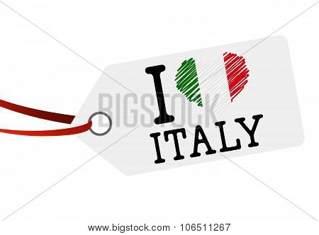Hang Tag With Text I Love Italy