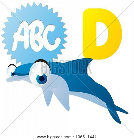 Cute vector isolated animals Alphabet: D  is for Dolphin