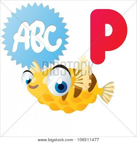 Cute vector isolated animals Alphabet: P  is for Porcupine fish