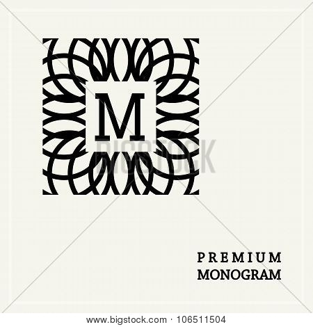 Stylish  graceful monogram , Elegant line art logo design in Art Nouveau style