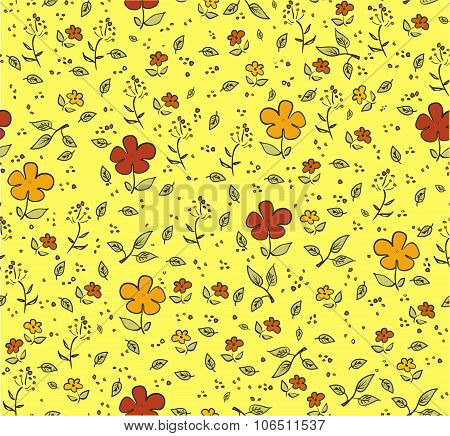 Floral yellow seamless background with red and orange flowers