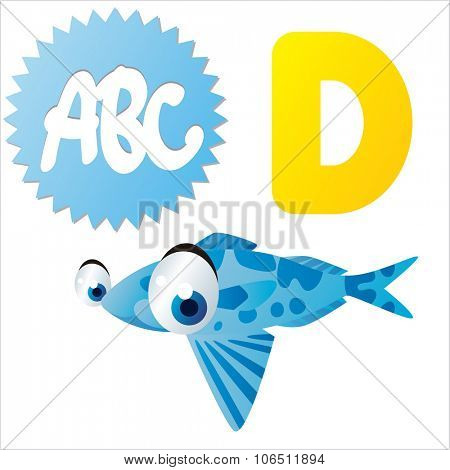 Cute vector isolated animals Alphabet: D  is for Driftfish