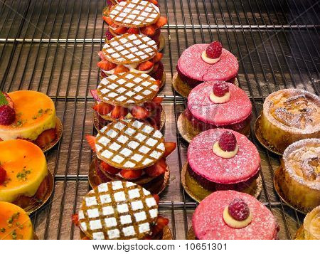French Delicious Pastries At A Bakery In Paris