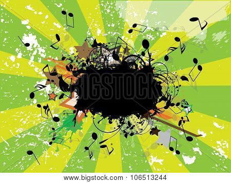 music grunge poster. Abstract vector illustration with background.
