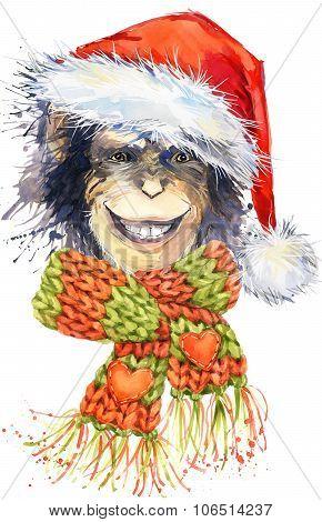 New Year monkey Santa Clause graphics,  monkey chimpanzee illustration