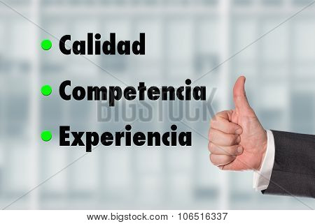 Business Man Holding A Thumb Up, Quality-competence-experience