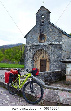 Roncesvalles begin of Way of Sain James biking in Navarra Pyrenees