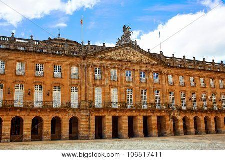 Santiago de Compostela Plaza Obradoiro arcade end of Saint James Way in Galicia Spain