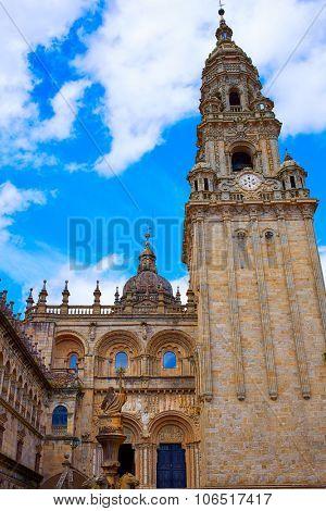 Santiago de Compostela Cathedral end of Saint James Way Plaza Praterias in Galicia Spain