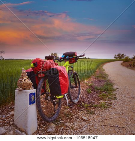 The Way of Saint James biking between Navarra and Rioja in Spain