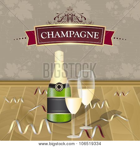 Champagne vector illustration.