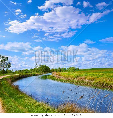 Canal de Castilla Channel by Saint James Way in Castilla Leon of Spain