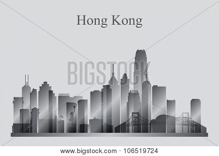 Hong Kong City Skyline Silhouette In Grayscale