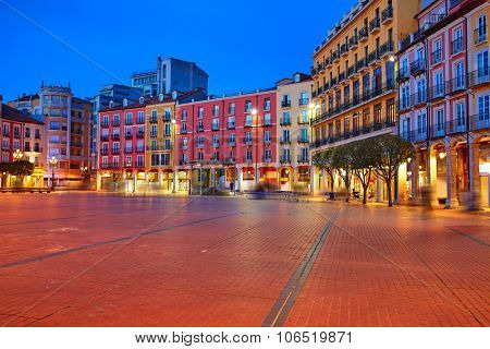 Burgos Plaza Mayor square at sunset in Castilla Leon of Spain