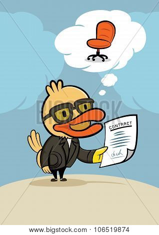 Duck Businessman With New Contract