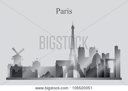 Paris City Skyline Silhouette In Grayscale