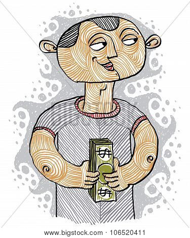 Colorful Vector Illustration Of A Banker, A Person Holding A Bundle Of Money. Money Maker Concept, I