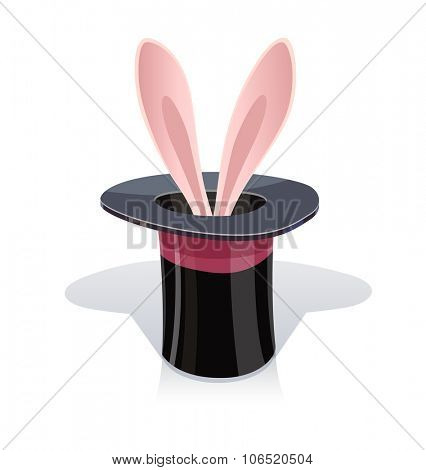 Magic cap and ear. vector illustration. Isolated on white background. Transparent objects used for lights and shadows drawing.