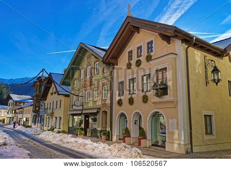 Charming Houses In Bavarian Village Garmisch-partenkirchen