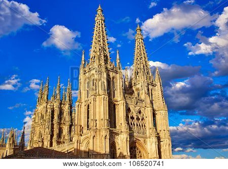 Burgos Cathedral facade in Saint James Way at Castilla Leon of Spain
