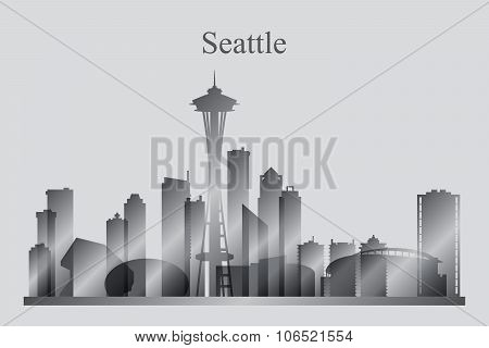 Seattle City Skyline Silhouette In Grayscale
