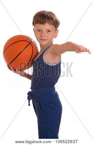 The Boy Held A Basketball Ball An One Hand