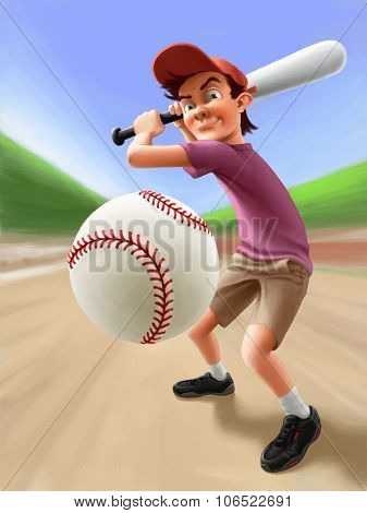 Illustration - Boy playing baseball