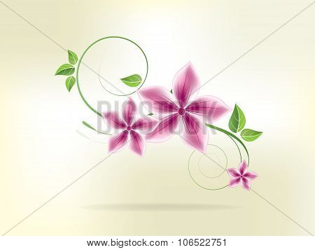 Floral background with flowers and swirls. Abstract vector illustration with background.