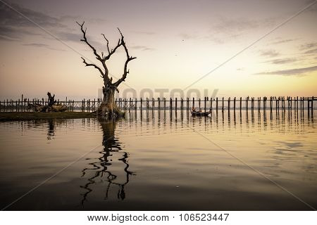 U Bein bridge of Mandalay, Myanmar.