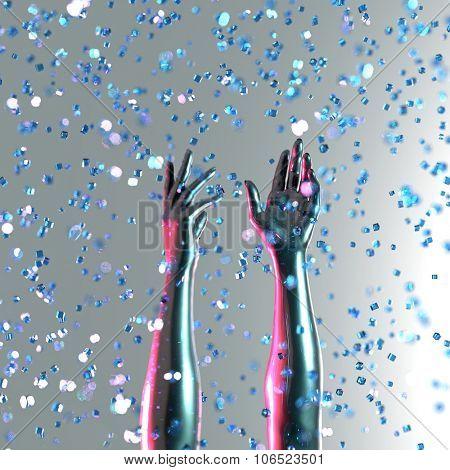 human hand in the crystal rain