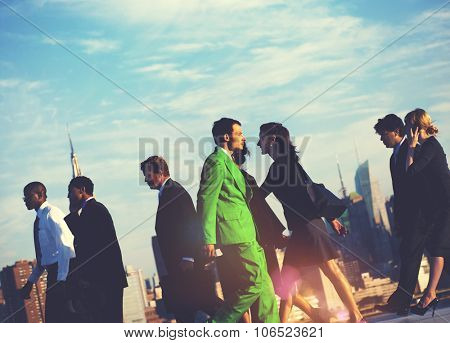 Business People Contraries  Green Business Concept