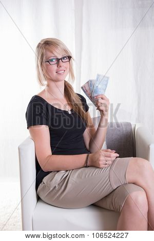 Young Woman Likes Receiving Euros