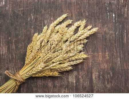 Copy space image of wheat rye ears on wooden background food and drink concept.