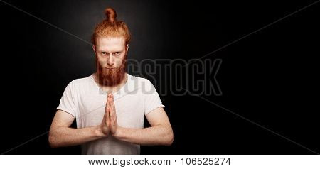 Portrait Of Handsome Bearded Ginger Man Standing, Isolated On Back Background.