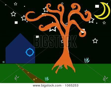 Orange Tree Night Landscape