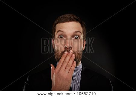 Closeup Portrait Of Businessman In A Suit, Looking Shocked, Surprised In Full Disbelief Isolated Gre