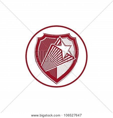 Military Shield With Pentagonal Comet Star, Protection Heraldic Sheriff Blazon. Army Symbol, Sheriff